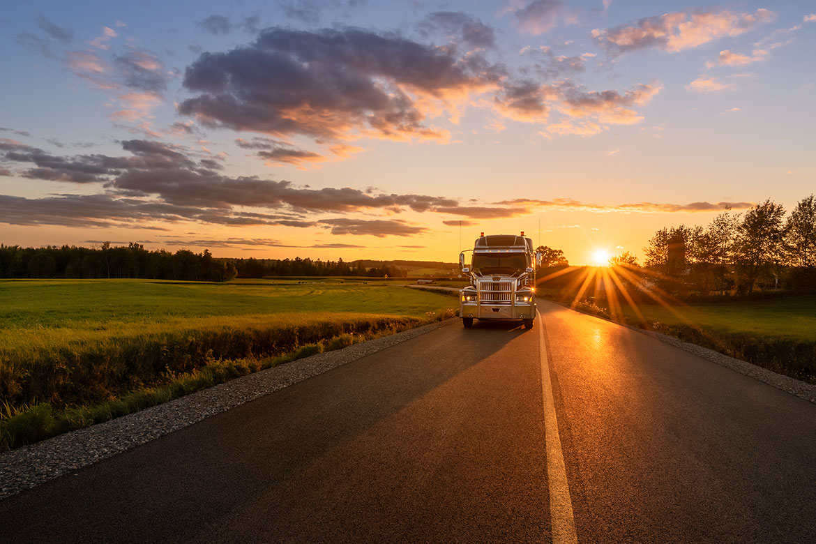 Truck photography at sunset